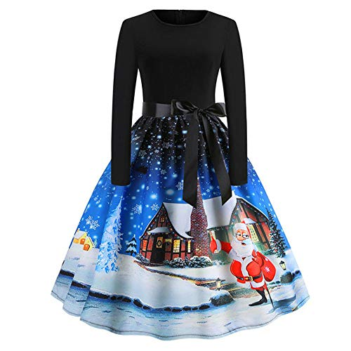 TOTOD Christmas Vintage Dress, Women Elegant Long Sleeve Print Dresses - O Neck Xmas Evening Party Swing Dress