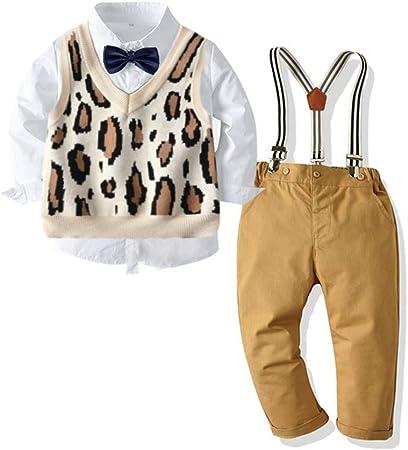 Niñas Pijamas Camisa Blanca Y Corbata De Lazo Leopardo Traje De ...