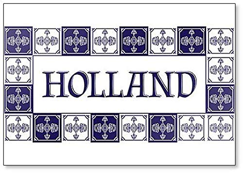 Holland Travel Illustration with Delft Dutch Tiles Pattern Classic Fridge Magnet