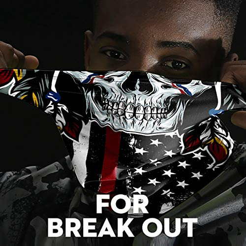 Cooling Neck Gaiter for Men Summer, Black Skull American Flag Face Mask, Cloth Designer Face Mask Scarf for Fishing Ski, Face Bandana Mask for Women Balaclava, Sun Protection Face Sleeve