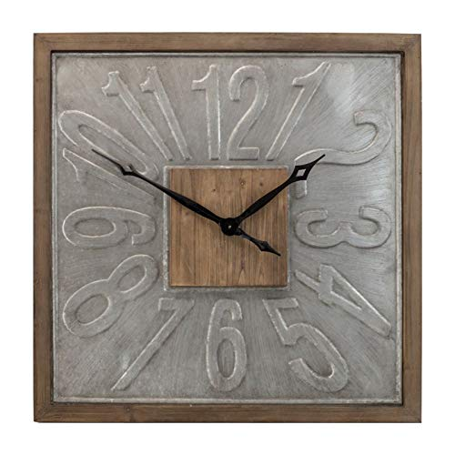 (VIPSSCI Large Square Wall Clock Wood Framed Metal 31