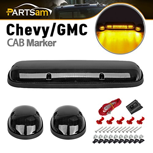 Partsam 3pcs Smoke Cover Lens Amber Yellow 30 LED Cab Marker Roof Running Top Clearance Lights Assembly+Wire Harness for 2002-2007 Chevrolet Silverado GMC Sierra 1500 1500HD 2500 2500HD 3500 Trucks