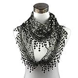 Swyss Trendy Women Lace Tassel Gauze Floral Embroidered Mantilla Scarf Wrap Chiffon Soft Shawl Scarf