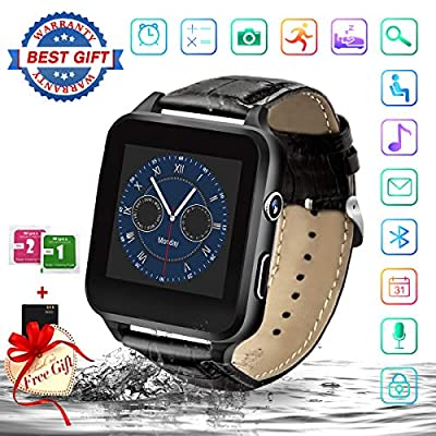Smart Watch,Bluetooth Smartwatch Touchscreen with Camera,Smart Watches Waterproof Smart Wrist Watch Phone Compatible Android iOS for Men Women Kids (X-Black)