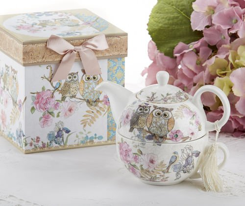 Porcelain Tea for One with Decorative Gift Box, Owls