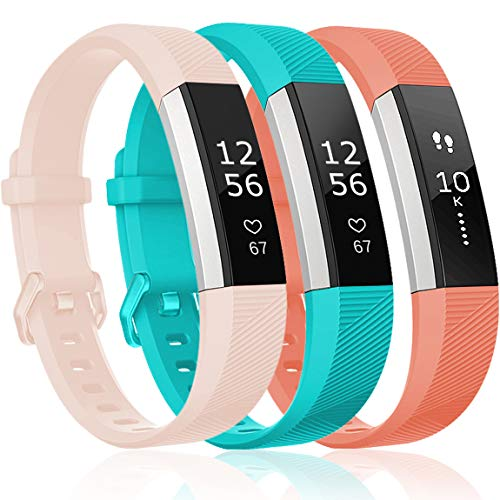 Teal Band - Maledan Replacement Bands Compatible for Fitbit Alta, Alta HR and Fitbit Ace, Classic Accessories Band Sport Strap for Fitbit Alta HR, Fitbit Alta and Fitbit Ace, 3 Pack, Pink/Teal/Coral, Small