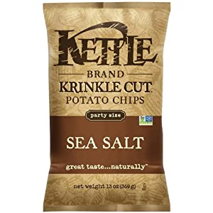 Kettle Brand Krinkle Cut Potato Chips, Sea Salt, 13-Ounce Bags (Pack of 10)