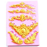 Yalulu Relief Top Baroque Floral Vine Shape Silicone Fondant 3D Silicone Mould for Cake Decorating