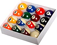 "Pool Table Billiard Ball Set - Regulation Size 2-1/4"" Full 16 Pool Ball Set"