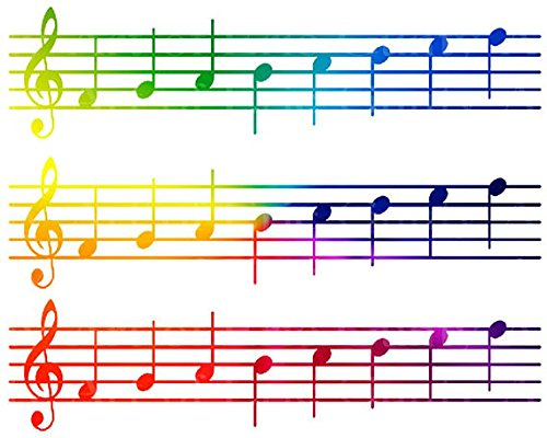 Rainbow-Sheet-Music-Band-Notes-Cake-Side-Designer-Strip-Edible-CakeCupcake-Party-Topper