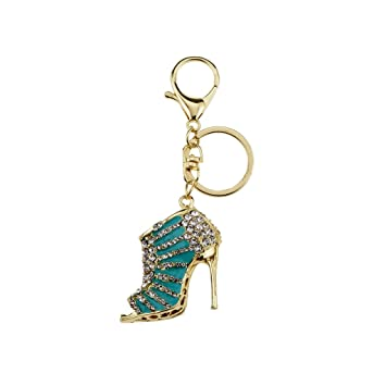 Prettyia Stylish Diamante Gold Light Blue High Heel Shoe Keyring Handbag  Charm Bling  Amazon.in  Bags 3fef27ce3