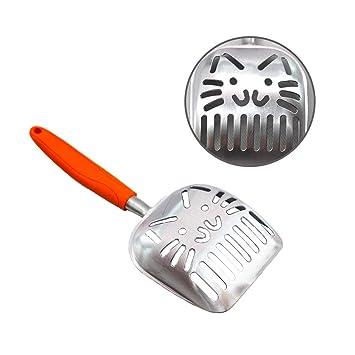 Pala de arena para gatos de aleación de aluminio grueso pala para limpieza de mascotas pala ...