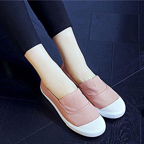 Minetom Damen Herren Sommer Herbst Segeltuch Slipper Mokassins Flach Espadrilles Einfarbig Segeltuch Loafers Schuhe Rosa