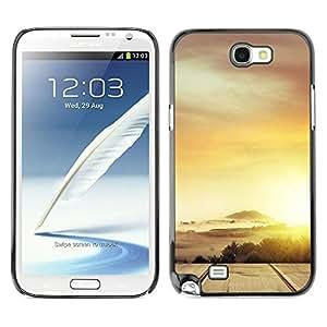 TopCaseStore / la caja del caucho duro de la cubierta de protección de la piel - Desert Cloud Gold Sun Road - Samsung Galaxy Note 2 N7100