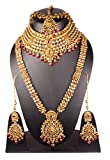 Indian Style Gold Plated Red Stone Stone Indian Necklace Earrings Bridal Set Jewelry