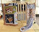 NAUGHTYBOSS Baby Bedding Set Cotton 3D Embroidery Bear Play Baseball Pattern Quilt Bumper Fitted Bed Skirt Urine Bag Blanket 9 Pieces Blue Patchwork