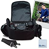 Large Digital Camcorder / Video Padded Carrying Bag / Case, Large For Canon VIXIA XC10, EOS C100 Mark II, HF R62, VIXIA HF R600, HF G10, G20, G30, M40 & More… + eCostConnection Microfiber Cloth