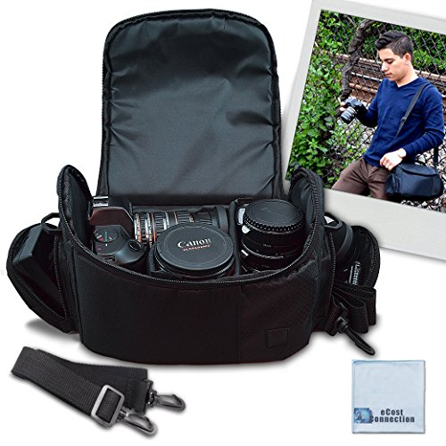 Large Digital Camcorder / Video Padded Carrying Bag / Case, Large For Canon VIXIA XC10, EOS C100 Mark II, HF R62, VIXIA HF R600, HF G10, G20, G30, M40 & More… + eCostConnection Microfiber Cloth by eCost