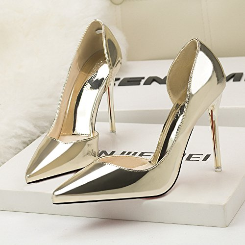heels with European simple Gold hollow night shallow metal thin club pointed and sexy thin fashion heel American shoes qW6aqHf