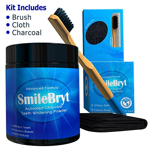 SMILEBRYT - Charcoal Teeth Whitening - Activated Charcoal Tooth Whitener with Bamboo Toothbrush & Cleaning Cloth | 100% Vegan Bamboo Organic Natural Active Tooth Whitener | 3.2 Oz 6 Month Supply