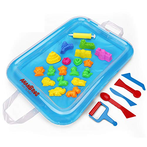 AnanBros Sand Molds & Tools Kit + Sand Tray, Magic Molding Play Sand Toys for Kids - For Play Sand, Coolsand, & Other Molding Sand