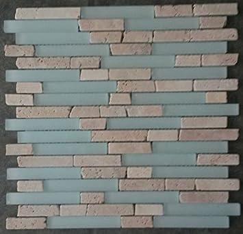 Marmor Glasmosaik Matte Travertin Beige Mosaik Fliesen Naturstein