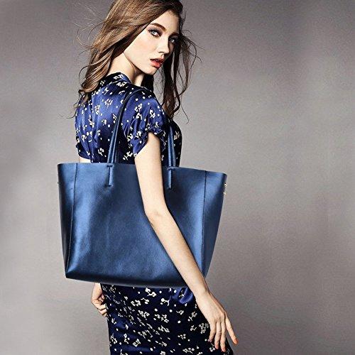 ZONE Sac Sac en Fashion Cuir Véritable d'Epaule Main S Bleu à d46qdw