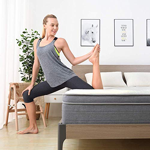Sweetnight 10 Inch King Mattress In a Box - Sleep Cooler with Euro Pillow Top Gel Memory Foam, Individually Pocket Spring Hybrid Mattresses for Motion Isolation, CertiPUR-US Certified, King Size
