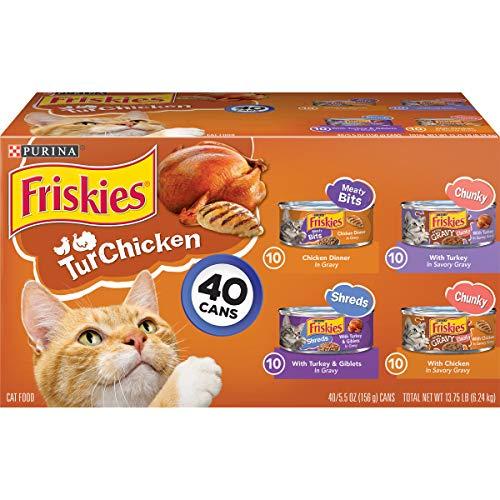 Purina Friskies Gravy Wet Cat Food Variety Pack, TurChicken Extra Gravy Chunky, Meaty Bits & Shreds – (40) 5.5 oz. Cans