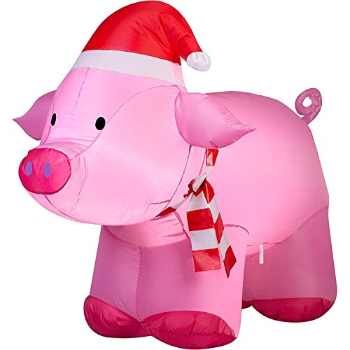 Outdoor Lighted Christmas Pig in US - 3