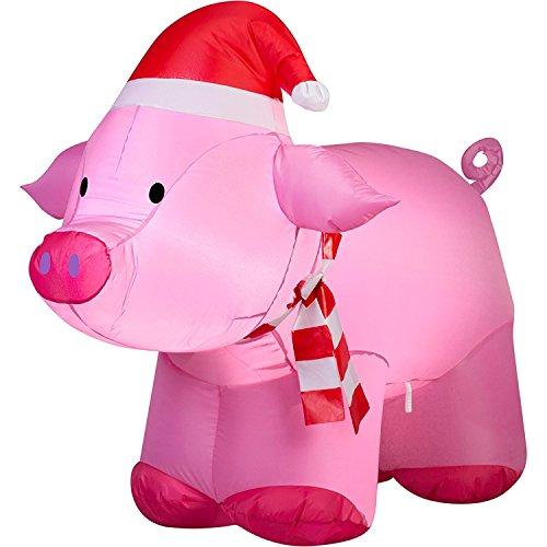 Outdoor Lighted Santa Pig in US - 2
