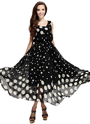 Ilishop Women's Polka Dot Casual Long Dress Cocktail Print Party Maxi Plus Size Black 2XL(Bust 40.9