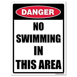 "Danger No Swimming in This Area 12"" x 18"" Corrugated Plastic Sign"