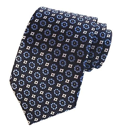 Elfeves Men's Blue White Tie Floral Navy Woven Silk Paisley Party Neckties (Blue Cream Mens Satin)