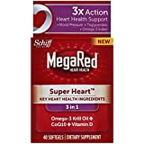 MegaRed Super Heart Omega 3 Krill Oil Plus COQ10 and Vitamin D, 40 count