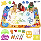 Toyk AquaDoodle Drawing Mat - Kids Painting Writing Doodle Board Toy - Color Aqua Magic Mat Bring Magic Pens Educational Toys for 1 2 3 4 5 6 7 8 9 10 11 12 Year Old Girls Boys Age Toddler Gift