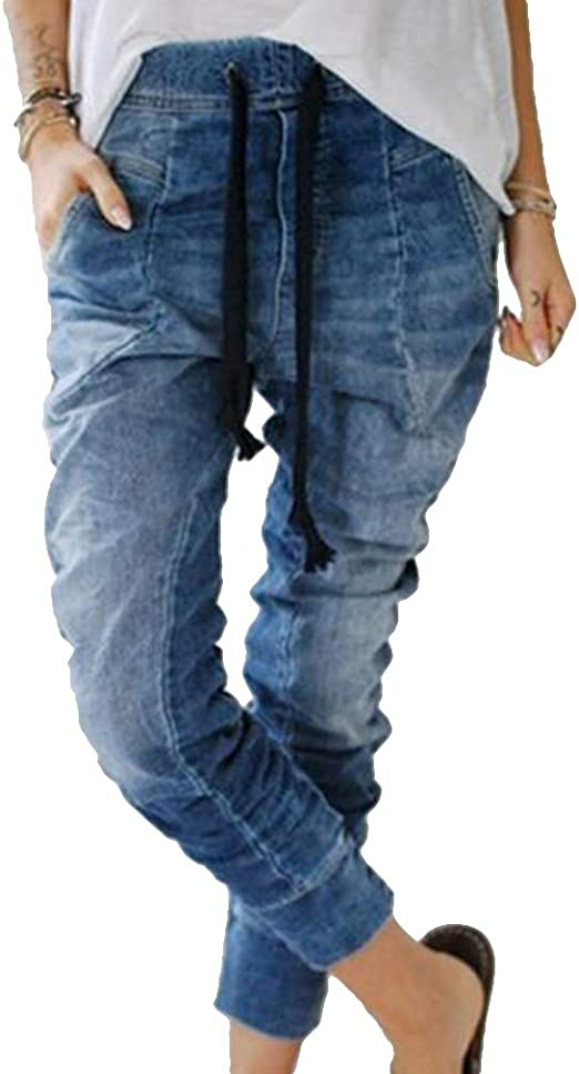 Mujer Mujer Harem Pantalones Con Cordones Vintage Vaqueros Cintura Alta Jeans A Ajuste Regular Hip Hop Denim Pantalon Deportivos Ropa Terenowiec Com