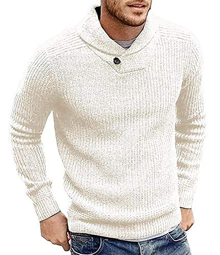 Ms lily Mens Sweaters Shawl Collar Slim Fit Pullover Fall Winter Casual Knit Ribbed Coat(White-Medium) -