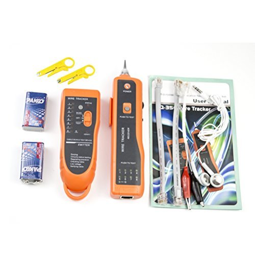 Network Toner RJ11 RJ45 Network Cable Tester Lan Tracker Wire Finder Cat5 Cat6 with 2 Network Wire Stripper,9V Battery and (Cat5 Network Tester)