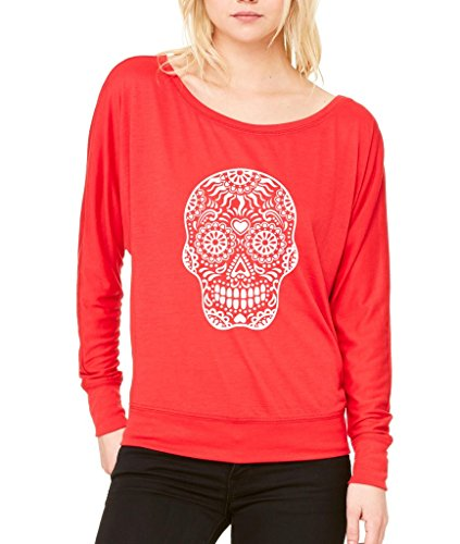 Day Of Dead Sugar White Skull Long-Sleeve Zombies Halloween Flowy Shirt X-Large Red s13 ()