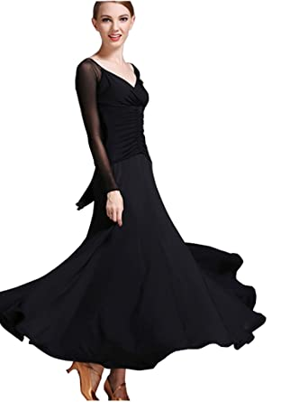 6b24e9917 V Collar Modern Dance Skirt Dress Ballroom Dress National Dress Waltz Dress  Black M