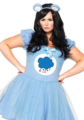 Plus Size Costumes - Leg Avenue Women's Plus-Size Care Bears 2 Piece Grumpy Bear Costume, Blue, 1X/2X