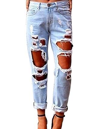 02a234386e45 ShiFan Femme Grande Taille Denim Pantalons Taille Haute Boyfriend Jeans  Casual Déchiré Pants  Amazon.fr  Vêtements et accessoires