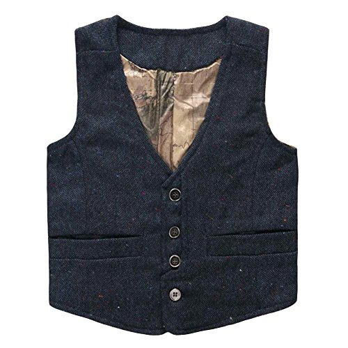 Coodebear Boys' Girls' Map Lined Pockets Buttons V Collar Vests Navy Size 10T
