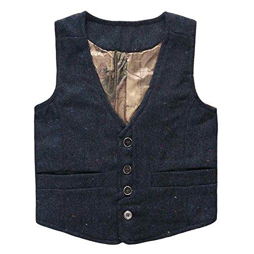 s' Map Lined Pockets Buttons V Collar Vests Navy Size 7T (Navy Fleece Vest)