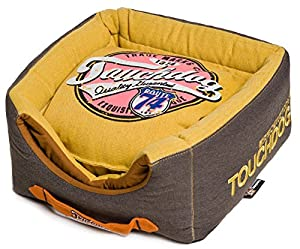 B00W97MZZUHN Touchdog Convertible and Reversible Vintage Printed Squared 2-in-1 Collapsible Dog House Bed, Mustard Yellow, Dark Brown, One Size