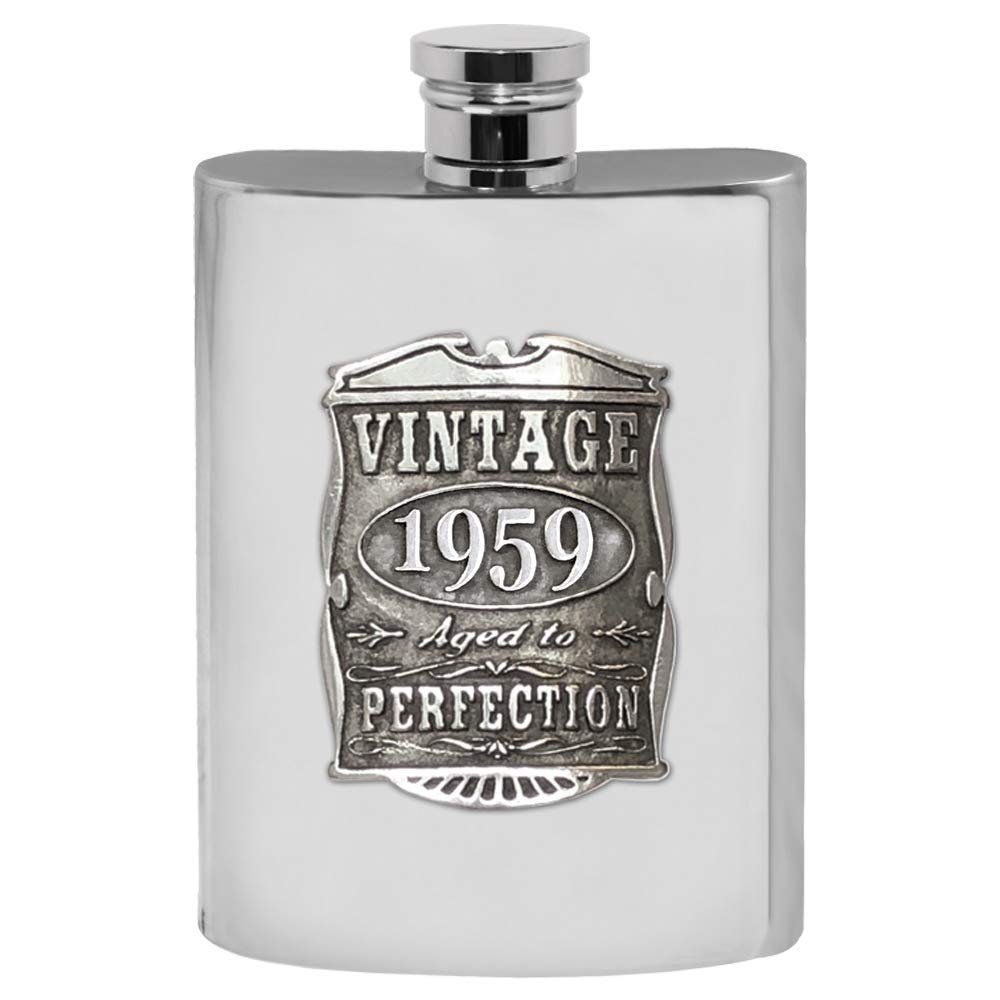 English Pewter Company Vintage Years 1959 60th Birthday or Anniversary Pewter Liquor Hip Flask - Unique Gift Idea For Men [VIN016]
