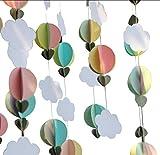 hot air balloon prop - Mybbshower Pastel Cloud Hot Air Balloon Garland Up Up and Away Photo Prop (5 Strands, 5 Ft Per Strand)