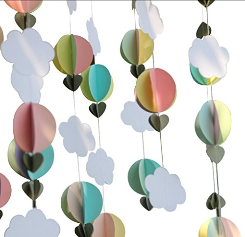 Mybbshower Pastel 3D Clouds Hot Air Balloons Garland Birthday Party Home Nursery Room Decorations Up Up and Away Photo Prop 5 -