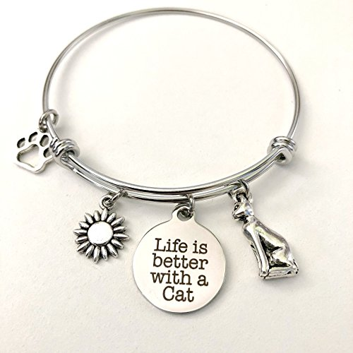 Life is Better With a Cat | Charm Bracelet for Cat Lovers | Cat Jewelry | Small-Med